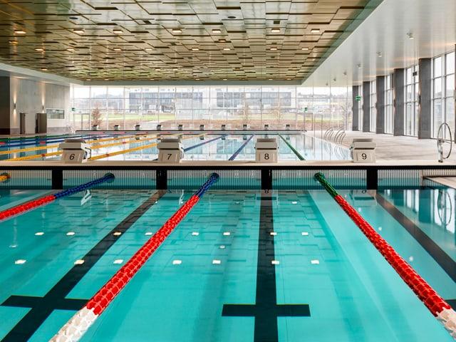 Das Becken im Schwimmbad, ganz klares Wasser, einzelne Bahnen abgesteckt mit schwimmenden Linien.