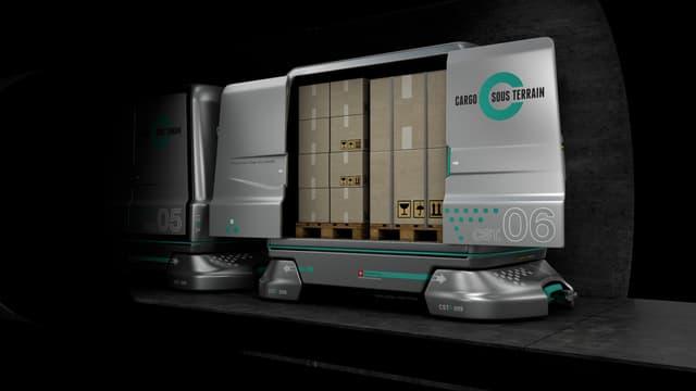 Animation Cargo Sous Terrain, Wagen mit zwei Paletten beladen