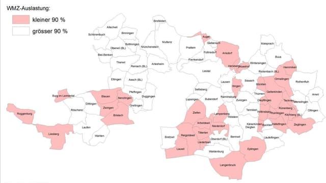 Karte mit den Gemeinden, zum Teil rot eingefärbt
