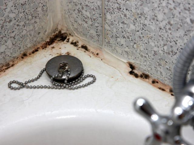 Schimmel an der Kittfuge einer Badewanne