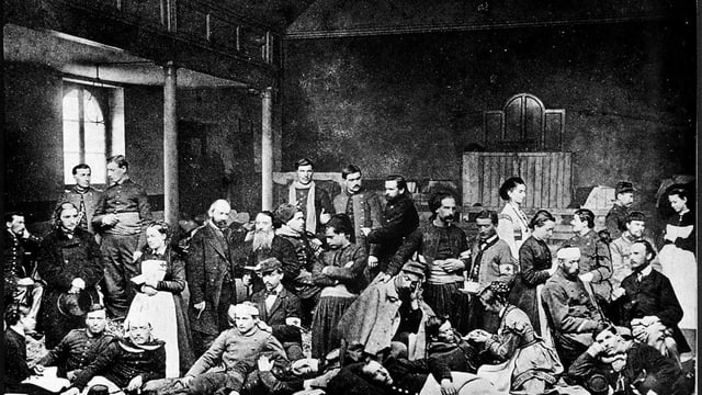 Verwundete Soldaten in der alten Kapelle Les Terreaux in Lausanne