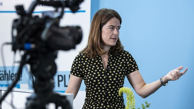 FDP-Präsidentin Petra Gössi an der heutigen Online-Delegiertenversammlung.
