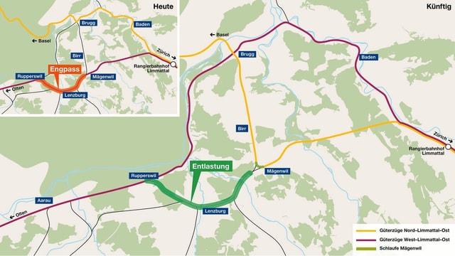 Karte der Schlaufe Mägenwil mit den verschiedenen Abschnitten in unterschiedlichen Farben.