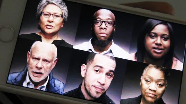 Sechs Menschen auf einem Bildschirm.