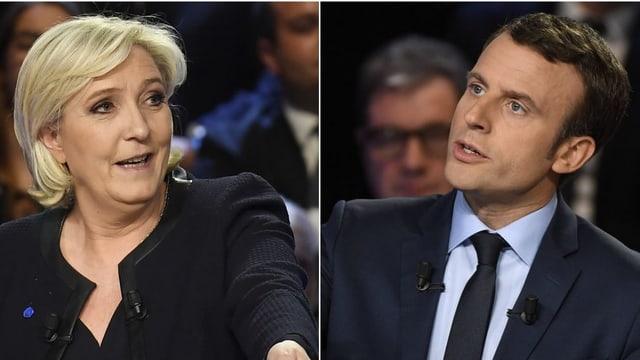 Marine Le Pen und Emmanuel Macron, Fotomontage.