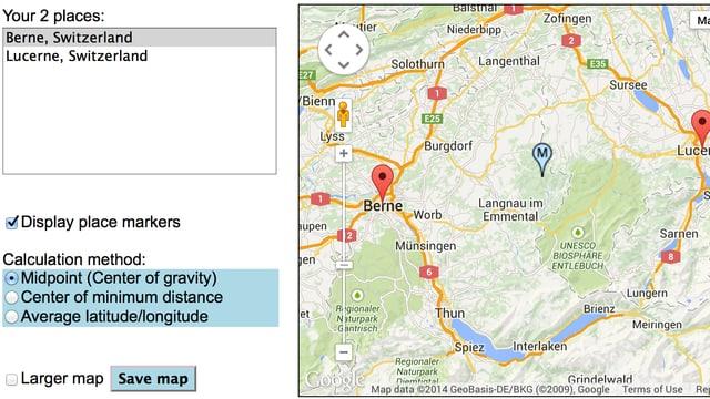 Ein Kartenausschnitt mit dem berechneten Resultat von GeoMidPoint