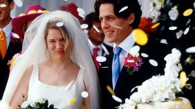 Bridget Jones im Hochzeitskleid und Daniel Cleaver im Anzug.