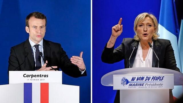 Fotomontage mit Emmanuel Macron und Marine le Pen