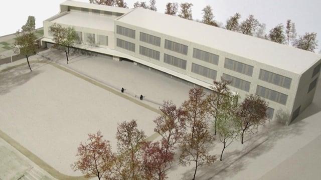 Modell eines geplanten Schulhauses an der Pfingstweidstrasse in Zürich