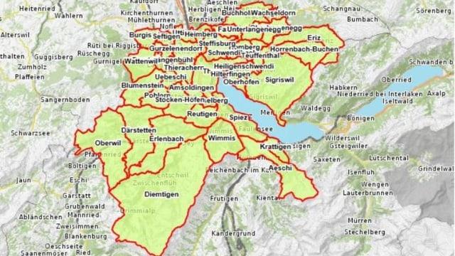Die 43 Gemeinden des Entwicklungsraumes Thun.