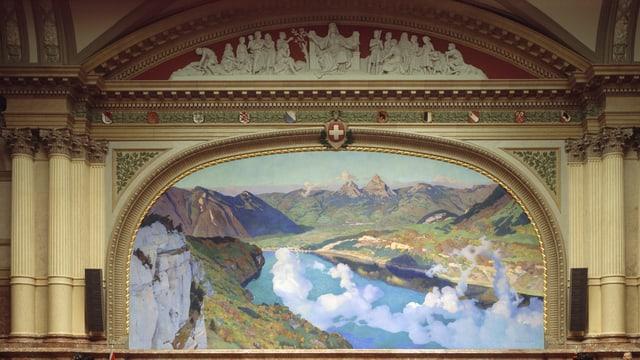 Grosses Gemälde im Nationalratssaal.