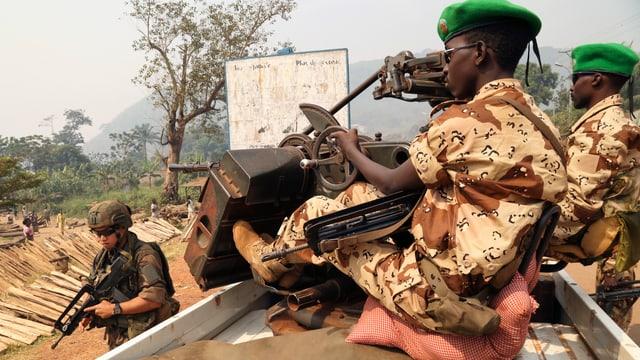 Soldaten aus dem Tschad bei einem Einsatz der Afrikanischen Union.