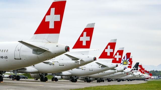 Swiss-Flotte am Boden.