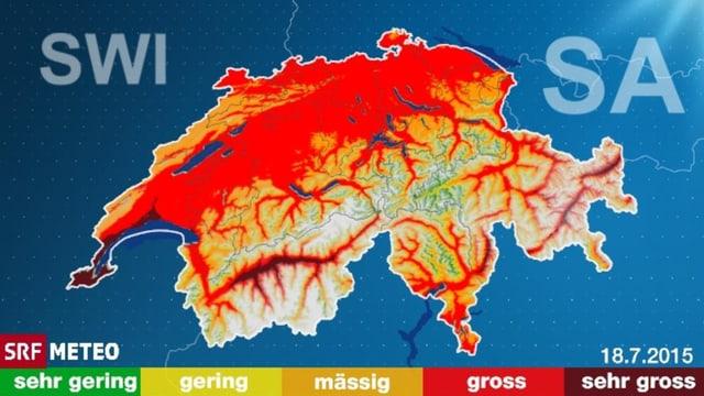 Die Karte der Schweiz ist weiterhin rot. Der Effekt des Starkregens zeigt eine vorübergehende Entspannung der Waldbrandgefahr in der Surselva.