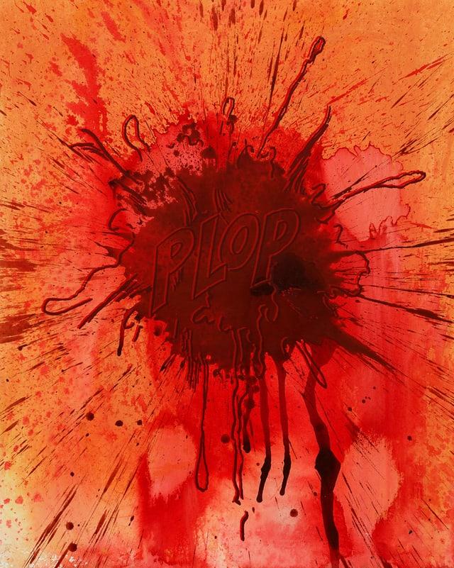 Ein Tropfen in roter Farbe, darin das Wort «Plop».