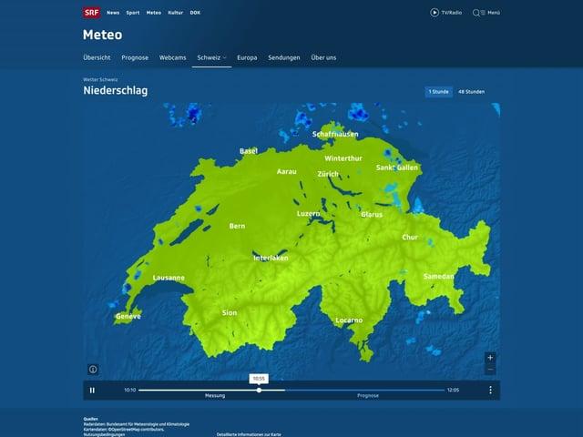 Screenshot der Niederschlagsprognose von srf.ch/meteo