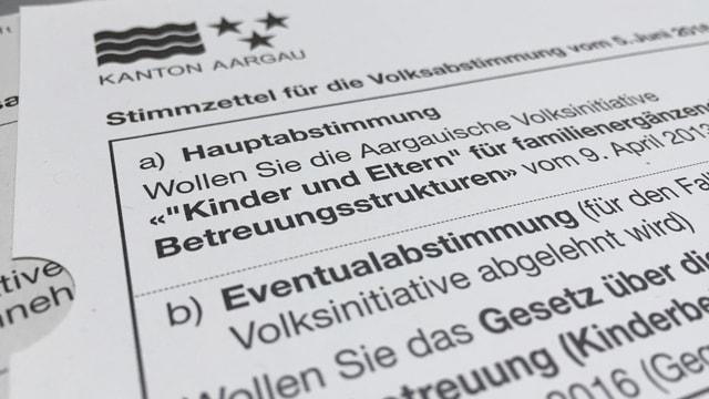 Abstimmungszettel Kinderbetreuungsvorlagen im Aargau am 5. Juni 2016