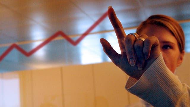 Eine Frau zeichnet mit ihrem Finger eine aufwärts strebende Zickzack-Linie an ein Glasfenster.