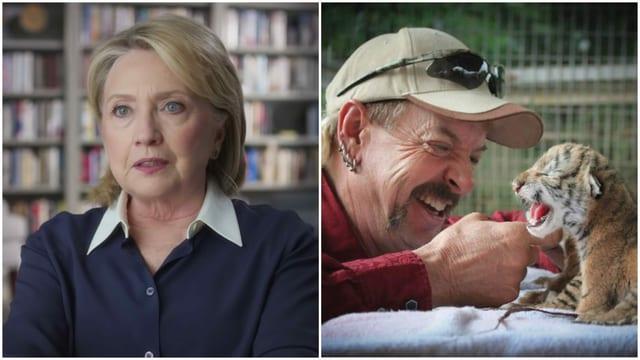 Link: Hillary Clinton in der Sky-Doku «Hillary» . Rechts: Zoobesitzer Joe Exotic in der Netflix-Doku «Tiger King».