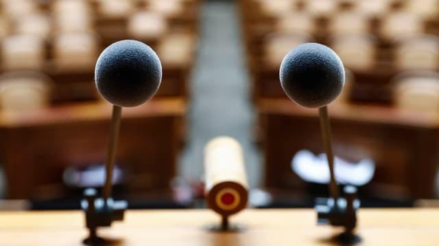 Maletg simbolic: Microfons en la chasa federala a Berna