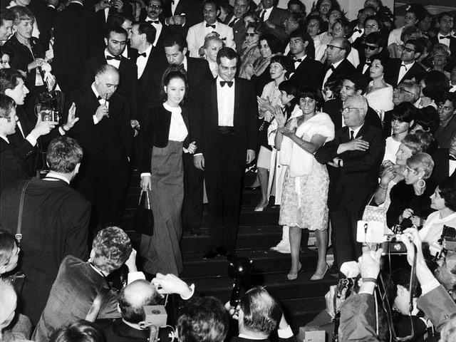 Geraldine Chaplin, 1966, zusammen mit Omar Sharif und Carlo Ponti.