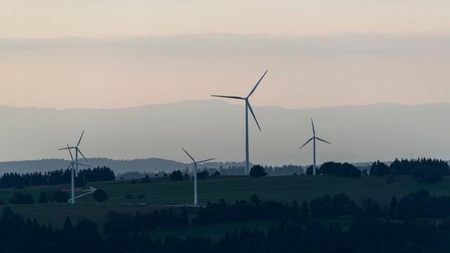 Windturbinen im Berner Jura im Abendlicht.
