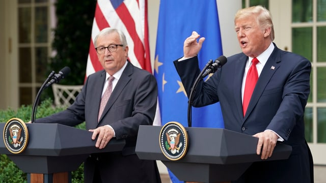 Donald Trump und Jean-Claude Juncker an der Pressekonferenz