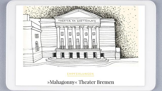 Auf einem Tablet ist eine Zeichnung eines Opernhauses zu sehen.