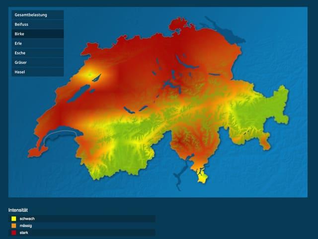 Pollenkarte von SRF Meteo