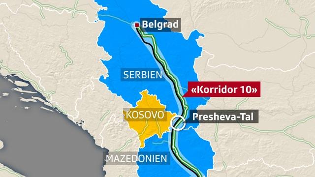 Der sogenannte «Korridor 10» führt von Mazedonien über den Kosovo bis nach Serbien.