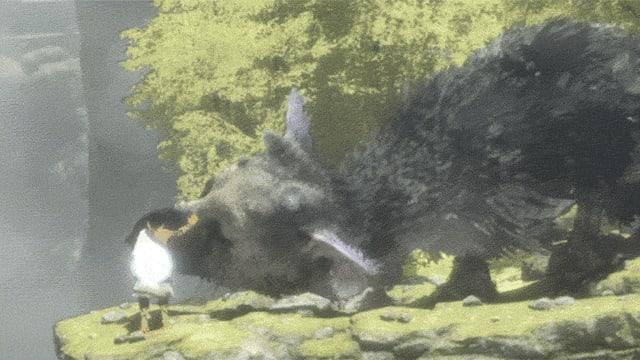 Ein animiertes Gif zeigt die Spielfiguren aus «The Last Guardian».