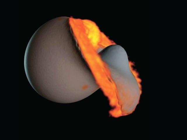 Simulation: Alexandre Emsenhuber, Martin Jutzi und Willy Benz, Weltraumforschung und Planetologie, Universität Bern, NCCR Projekt PlanetS