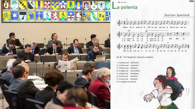 Ils parlamentaris grischuns emprovan da chantar la chanzun da la pulenta a l'Expo Milano 2015.