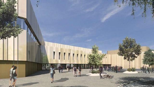 Visualisiertes Computerbild des neuen Sportzentrums Tägerhard.
