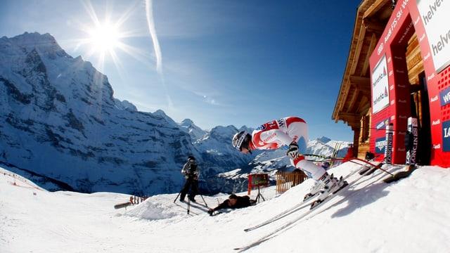 Die Schweizer, hier Beat Feuz, gehen mit bescheidenen Ambitionen an den Start der Lauberhorn-Abfahrt.