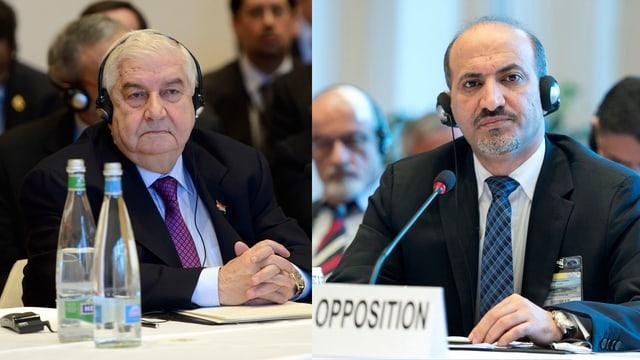 Syriens Aussenminister Muallim sieht das Regime im Recht. Anders sieht dies Dscharba, der Oppositions-Führer. (keystone)