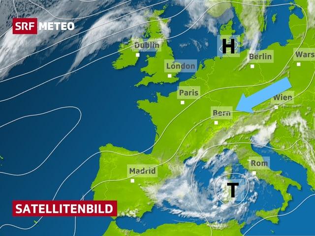 Satellitenbild von Europa mit Wolken und Isobaren