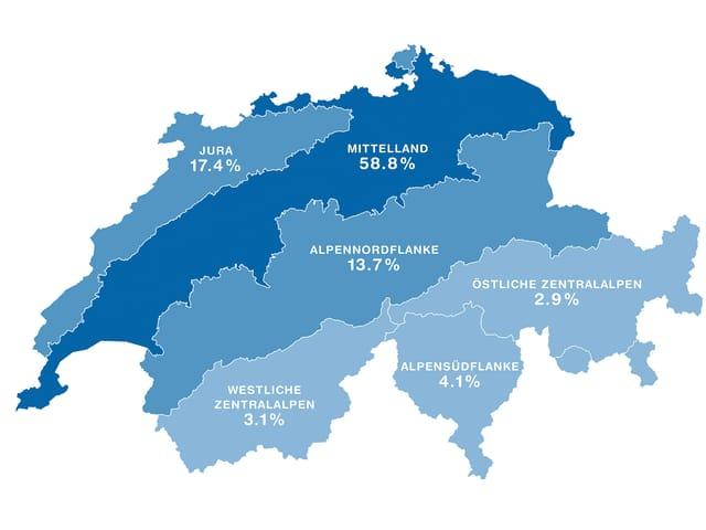 Schweizerkarte mit blau eingefärbten Gebieten