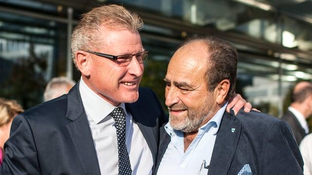 Heinz Tännler und Moritz Schmid bei den Wahlen 2014.