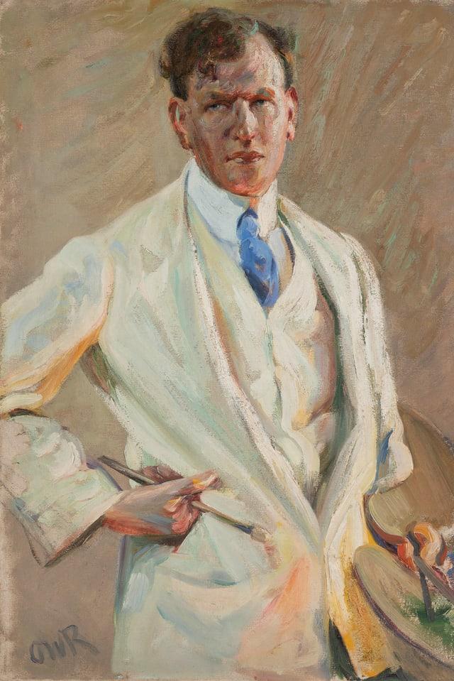 ein Gemälde eines Mannes in einem weissen Anzug