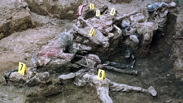 Aufnahme der 1996 ausgegrabenen sterblichen Überreste von Bosniern, die auf der Flucht von Serben ermordert wurden.
