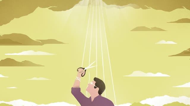 Ullustration einer Menschen, der mit einer Schere Sonnenstrahlen aus dem Himmel abschneidet