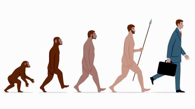 Evolution: Fünf Menschheits-Typen, vom Neanderthaler zum Anzugsträger.