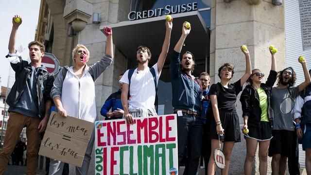 Klima-Aktion in Lausanne.