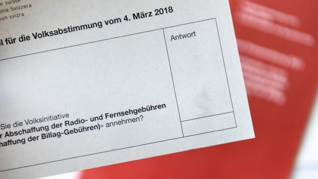 Ein Abstimmungszettel zur «No Billag»-Abstimmung vom 4. März 2018.