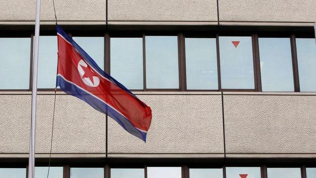 Die Fahne von Nordkorea.