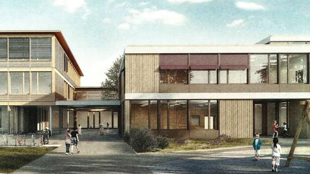 Visualisierung des geplanten Schulhauses