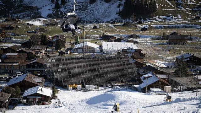 Der Zielhang in Adelboden Anfang Januar 2020.