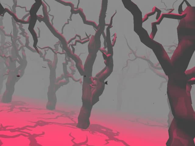 Virtuelle Bäume in einer farbigen Computerlandschaft,