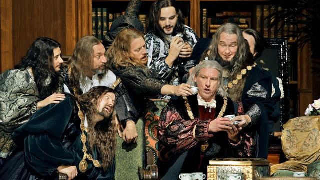 Szene aus Meistersinger. Männer in einer Bibliothek.